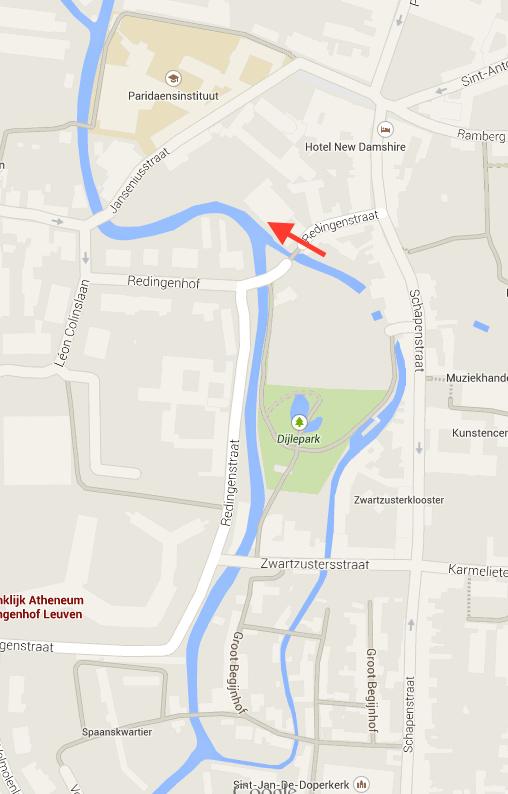 Samenvloeiing van twee armen van de Dijle. Copyright plan: Google Maps.