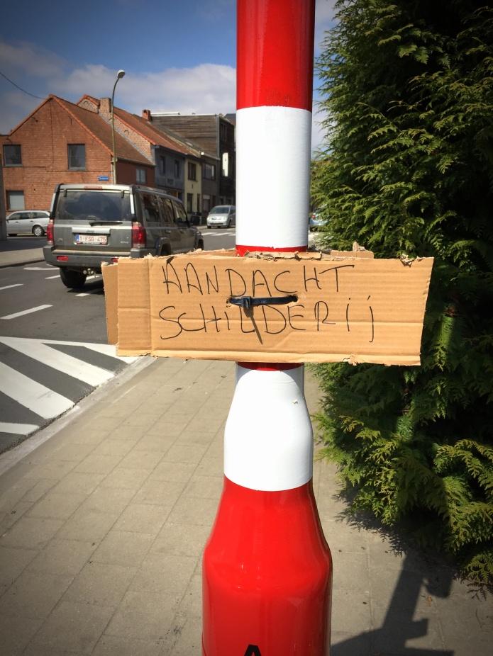 Schilderij. Te Voet in de Stad. Foto Hendrik Elie Vanden Abeele