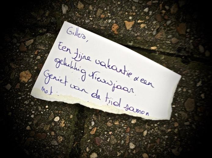 Groundtext #70 Gilles! Leuven, Gijzelaarsstraat, 18 december 2015, Foto Hendrik Elie Vanden Abeele. Te Voet in de Stad