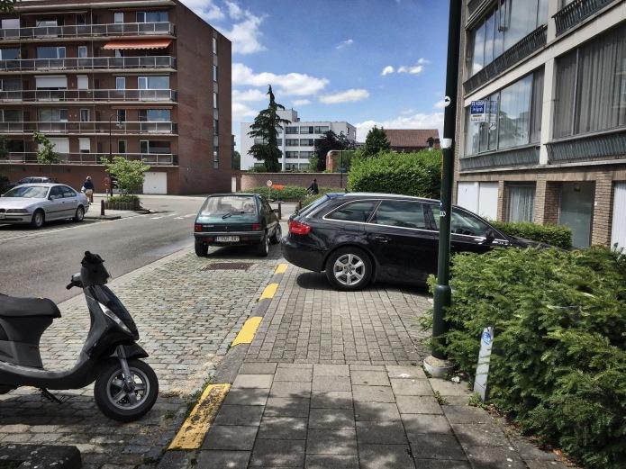 Dwarsrijder. Leuven, Redingenhof, 9 juni 2015, Foto Hendrik Elie Vanden Abeele. Te Voet in de Stad