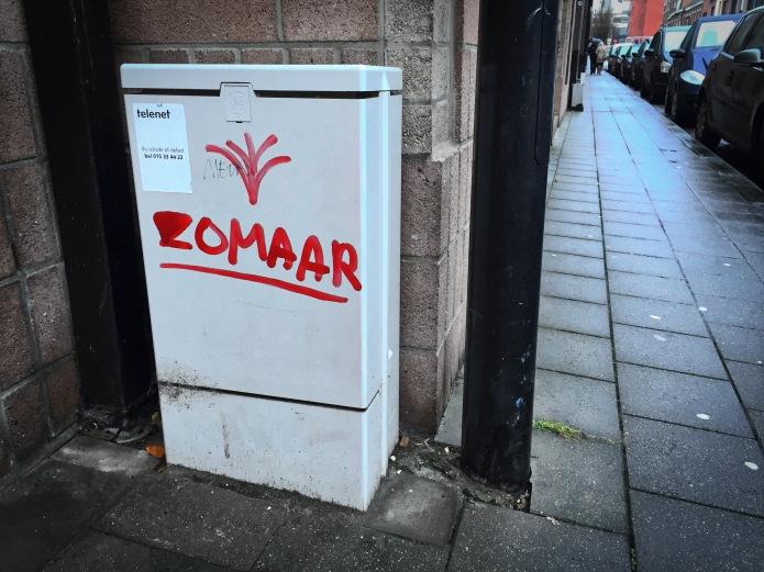 Teken aan de wand #59. Leuven, Nerviërsstraat, 16 december 2015, Foto Hendrik Elie Vanden Abeele. Te Voet in de Stad