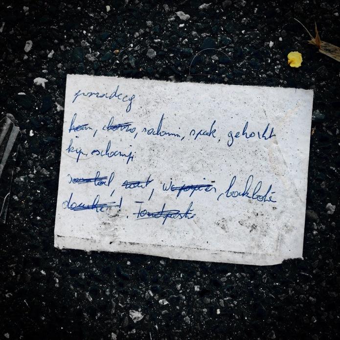Groundtext #128 Tandpesto. Heverlee, IJzerenmolenstraat, 31 augustus 2015, Foto Hendrik Elie Vanden Abeele. Te Voet in de Stad