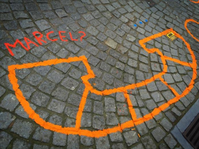 Groundtext #136 Marcel? Leuven, Savoyestraat, 6 oktober 2015, Foto Hendrik Elie Vanden Abeele. Te Voet in de Stad