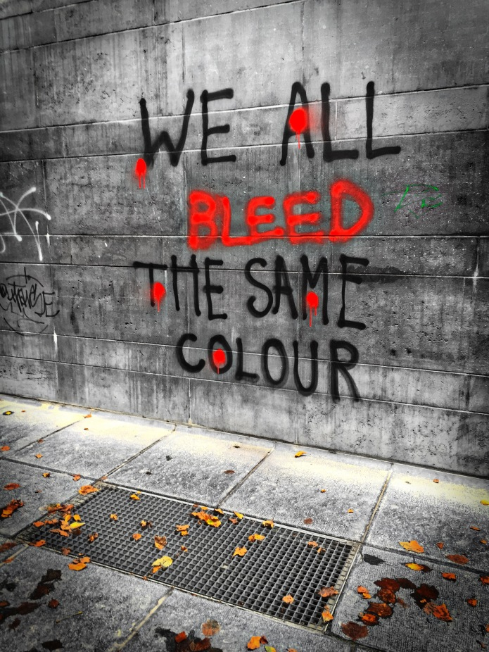 Te Voet in de Stad Brussel We All Bleed the Same Colour